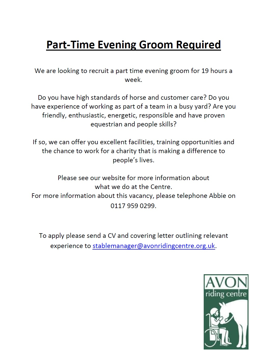 Working With Us – Avon Riding Centre for the Disabled